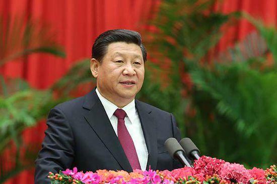 中共中央总书记、国家主席、中央军委主席习近平在国庆招待会上发表讲话。  新华社图